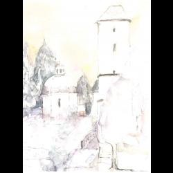 Watercolourcard watertower GER