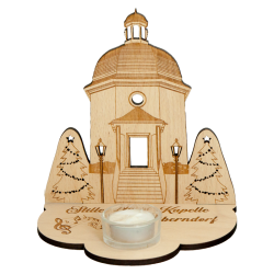 Wooden chapel with candle