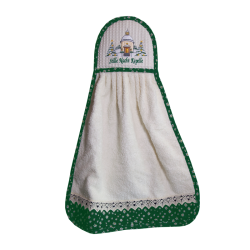 Towel embroided green